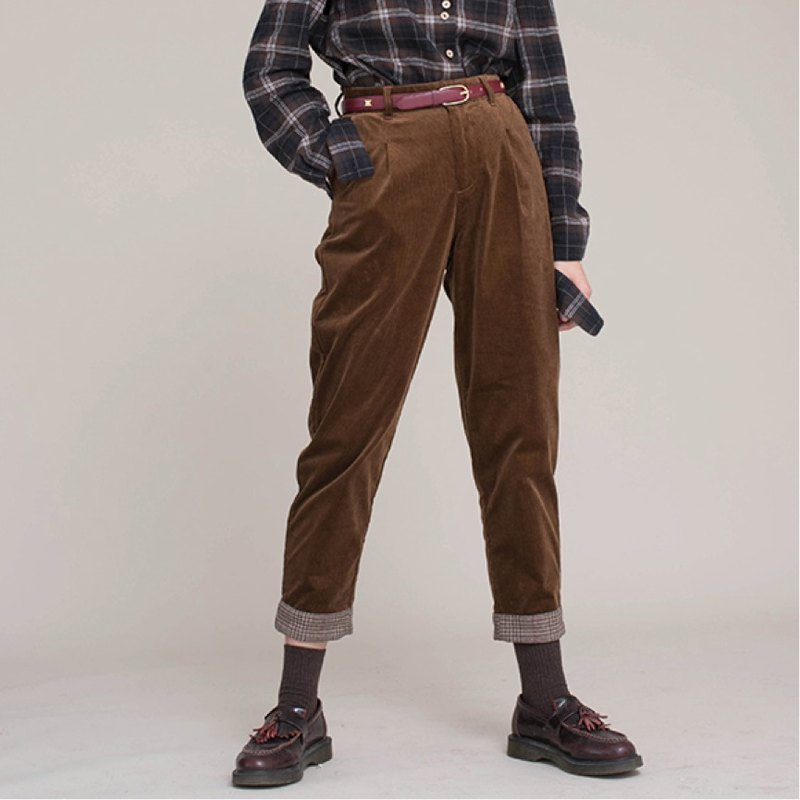 Dark brown plaid flip flops retro corduroy neutral tapered pants potato pants feet pants pants pants trousers