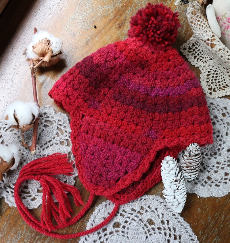 Handmade - Sweet Strawberry - Hood - Wool cap