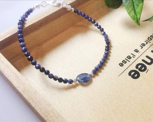 MH pure silver natural stone sketch series _ Jane _ September birthstone _ sapphire