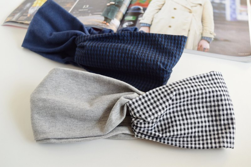 gingham check  pattern x  gray or  navy / cross hairband