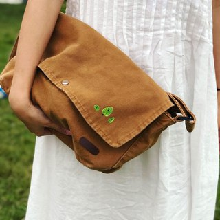 Three small trees // canvas side backpack