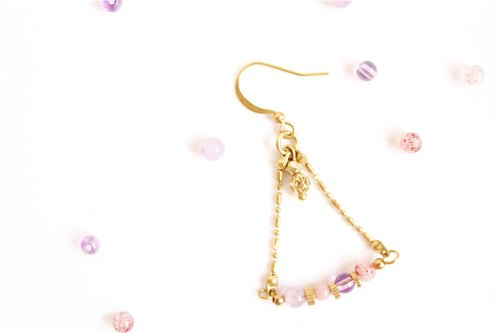 [Na UNA- excellent hand-made] young girls swing - Copper earhook brass customization natural stones