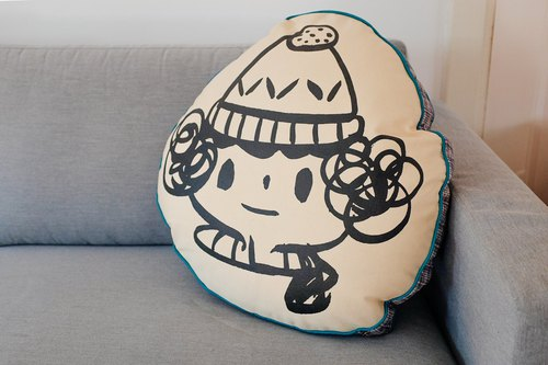 Brut Cake hand-crafted cushion pillow (8) _ cute hand-painted _ screen printing _ hand-sewn _ warm embracing smiling face