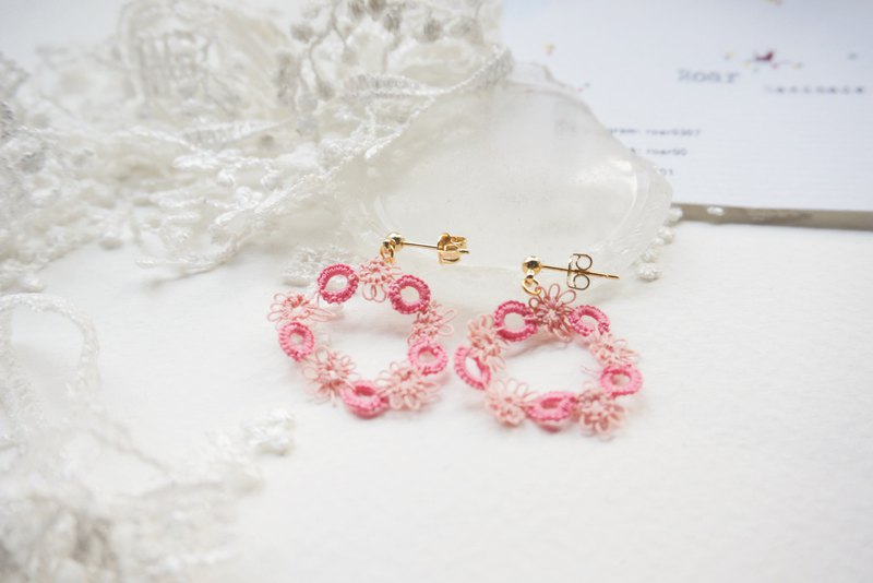 Handmade Tatting Earrings, Lace Earrings, Cotton,Christmas Wreath 。