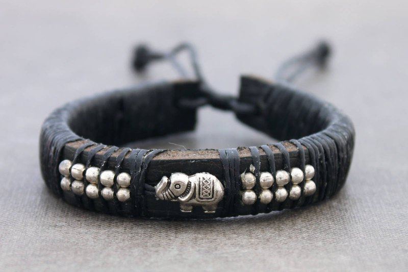 Leather Beaded Bracelets Silver Beads Bracelets,Men Unisex Elephant Charm