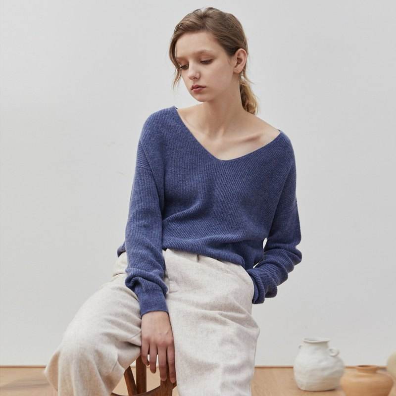 Sea blue 2 color fine cashmere wool blend sweater V-neck vertical stripes slim loose loose sweater