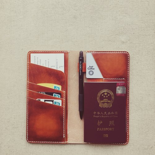 Multi-functional wallet passport with pen inserted Italian vegetable tanned hand-brown dyed PXK Knight