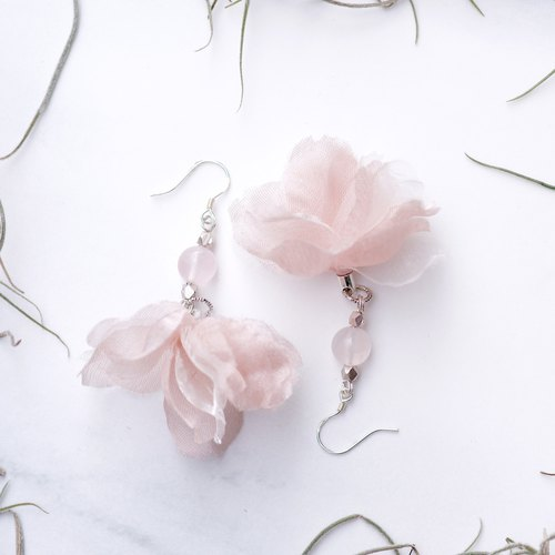 Aiko | Unique Sakura Fabric Flower Earring with Crystal and Golden Plating Hook