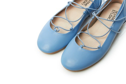 Dancing Woman-Leather Casual Women Shoes- Sky Blue