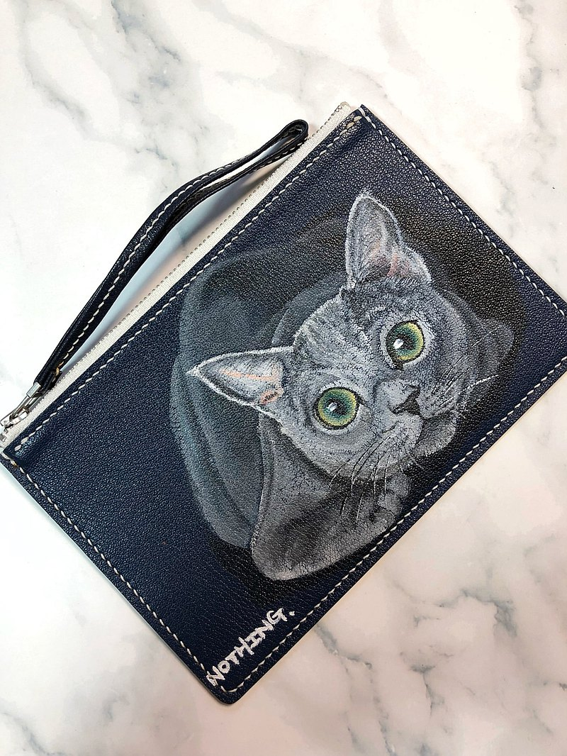 Hand-painted pattern small gray cat leather coin purse | mobile phone bag | small wallet | clutch bag