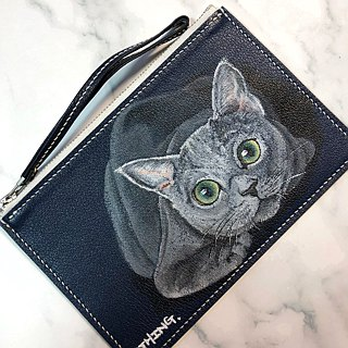 Hand painted cat coin purse / mobile phone bag / wallet / clutch