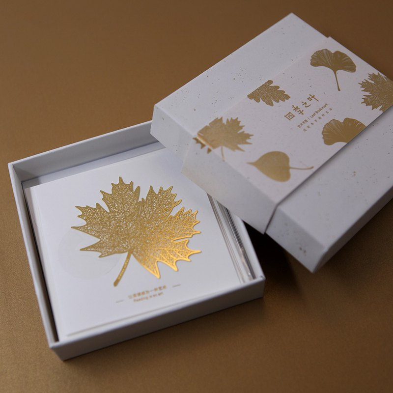 Hand-painted Four Seasons Leaf Brass Bookmarks 4 Leaf Gift Box