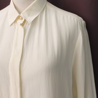 Vintage European Elegant Plain Beige Long Sleeve Loose Vintage Shirt Vintage Blouse