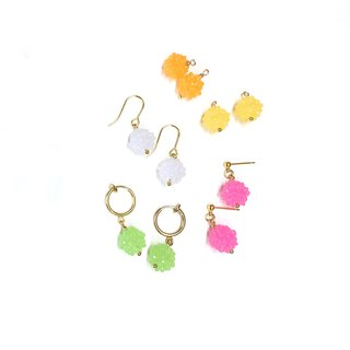 【】 If Wandang Sang sweet sweet candy. Import plated 18k gold earrings. Can change ear clip.
