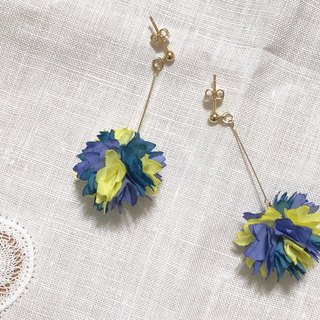 Flower beautiful series - summer night wisteria hand made flower cloth flower draping sweet and lovely ear pin / ear clip
