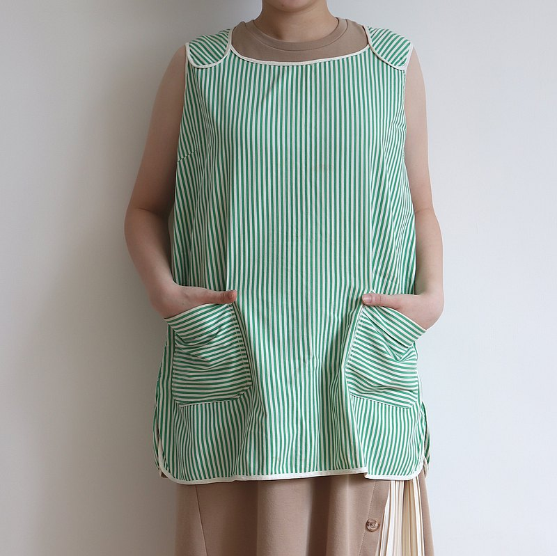 Finland 70s Green Striped Vintage Babydoll Work Apron