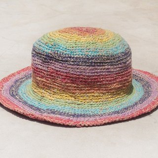 Limited edition handmade weave linen hat / weaving hat / fisherman hat / sun hat / straw hat - bright rainbow colorful striped handmade hat