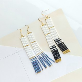White - Long Beaded Tassel Earrings