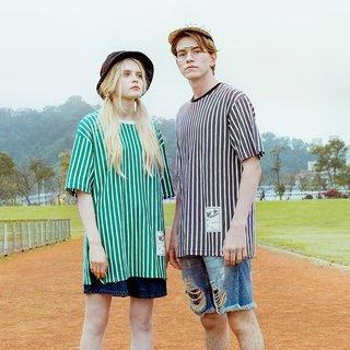 UNISEX STRIPED T SHIRT/ Green/White