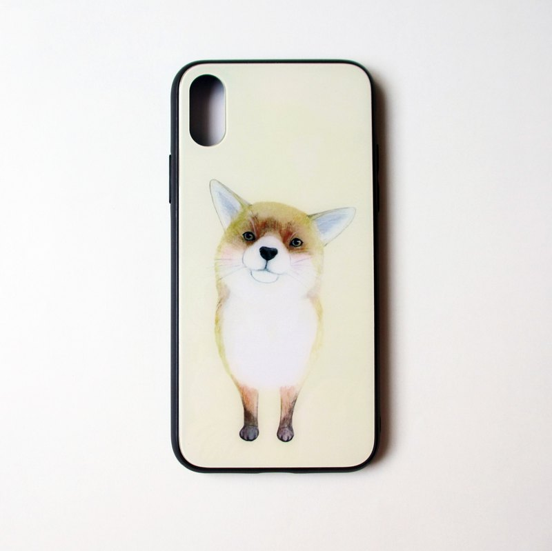 DUNMI and other meters / glass back plate soft shell / original design - stay cute little fox