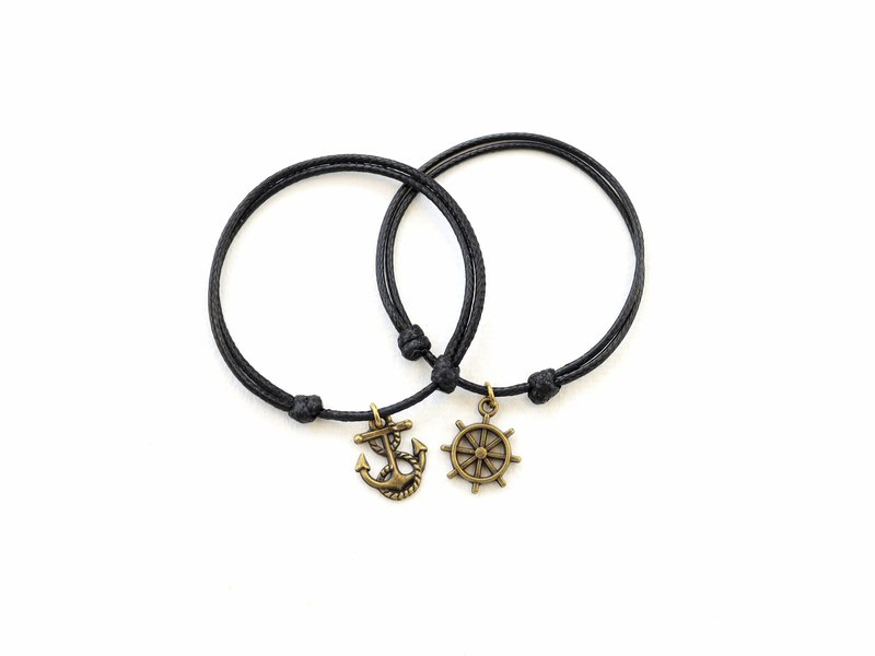 Couple matching bracelet - SET OF 2 bracelets - Anchor & Ship-wheel bracelet