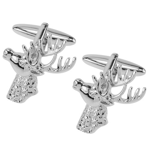 Silver Stag Deer Head Cufflinks