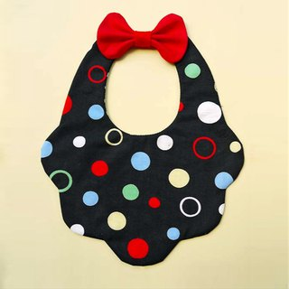 DOMOMO color wave card dot - double-sided petal type saliva towel bib embroidered word