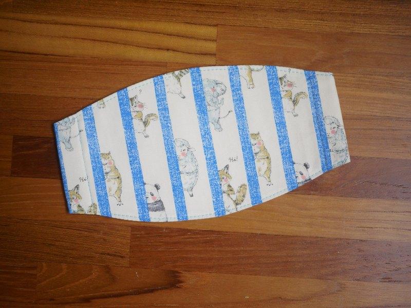 手作訂製=手作口罩=動物捉迷藏=晴空藍=條紋=日本布料