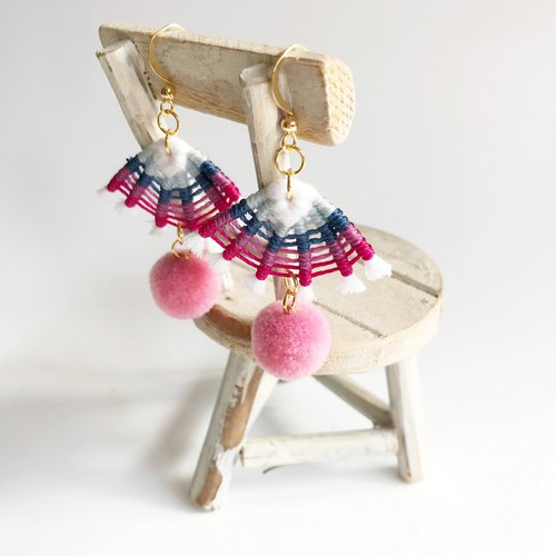 Original handmade thread braided earrings fan shape yarn ball earrings