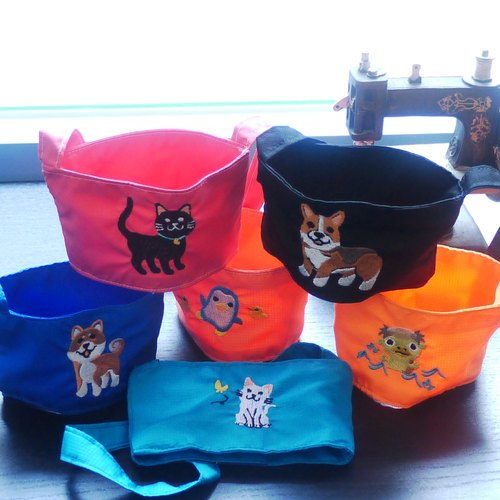 Animal Party Eco-Drink Beverage Bag 1+1 Optional Embroidery Name All Animals Animals are Available