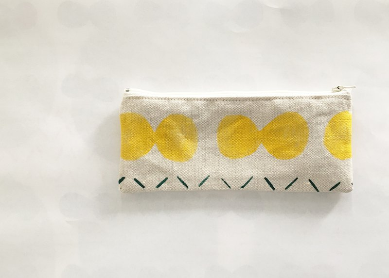 Moshimoshi | linen pen bag - yellow cell division