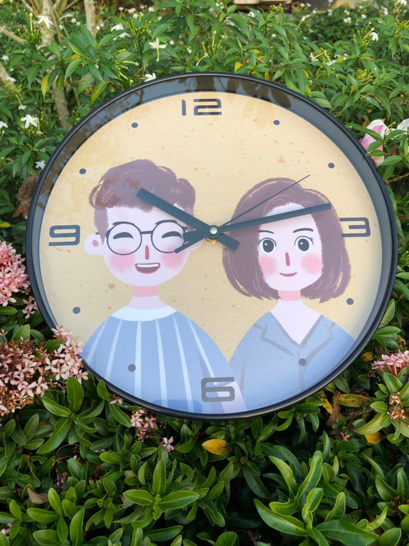 Customized hand-painted [clock-fashion black] hand-painted Q version hand-painted portrait customized clock