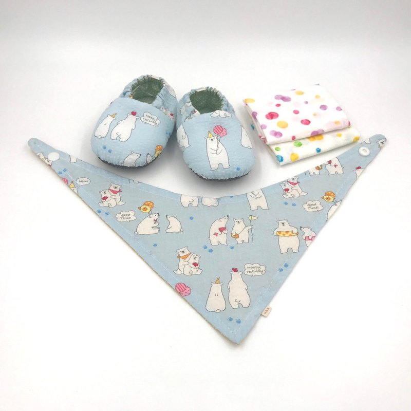 Polar Bear Blue Bottom - Mi Yue Gift Box (toddler shoes / baby shoes / baby shoes + 2 handkerchief + scarf)