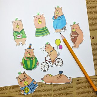 Transparent Fog Sticker Pack - Postman Bear (8pcs)