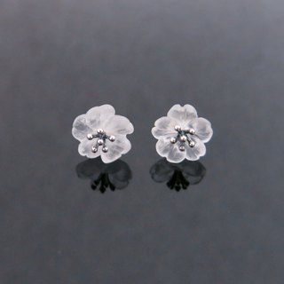 READ Dazzling Elf Grecia | Hand made white crystal rain flower 925 sterling silver ear