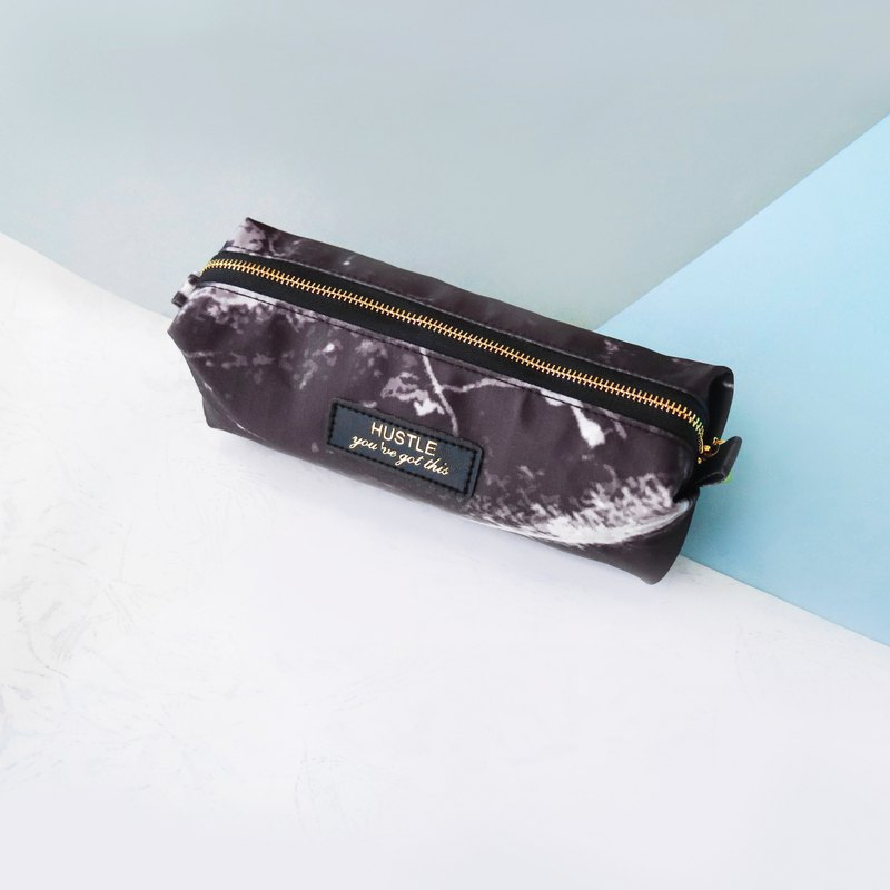 [Unique] Cylindrical pencil case free to add large capacity - marble cloth