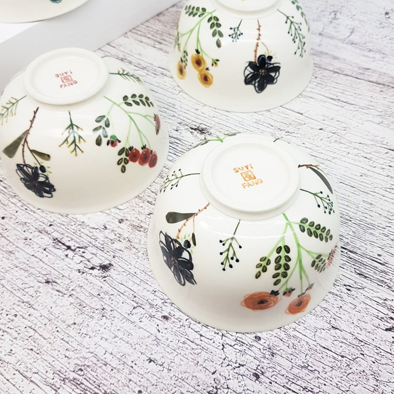 [co. Five-color small flowers] Multi-color hand-painted glazed hand-painted bad cups and bowls set 10 pieces can be ordered
