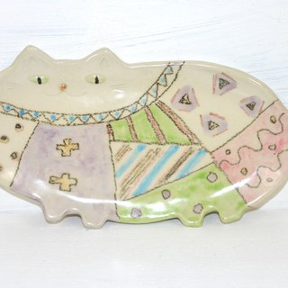 Cat long dish (thick) Pattern