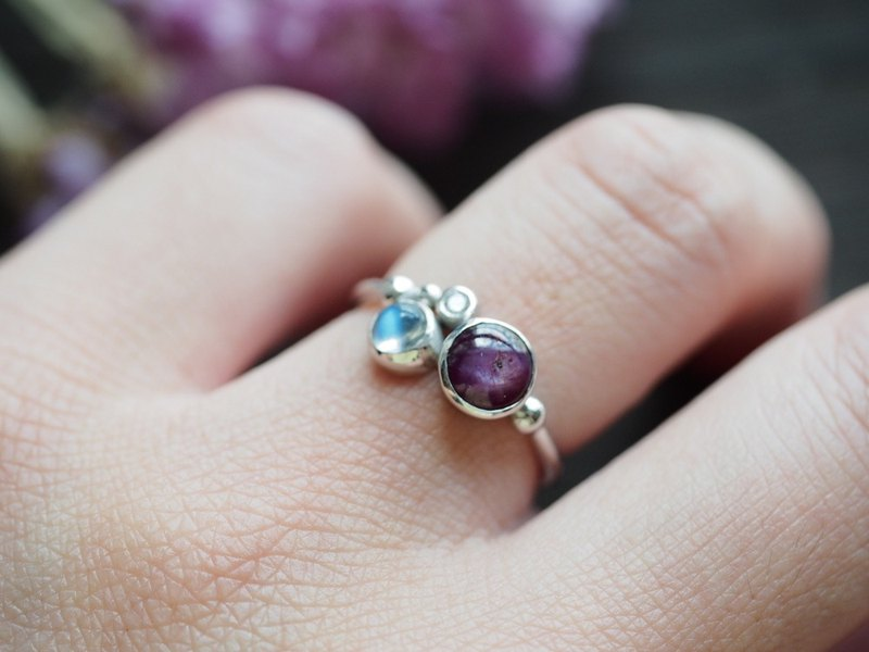 ~Coordination~ Natural Star Ruby Moonstone Hand-plated Gold Ring Ring Star Ruby