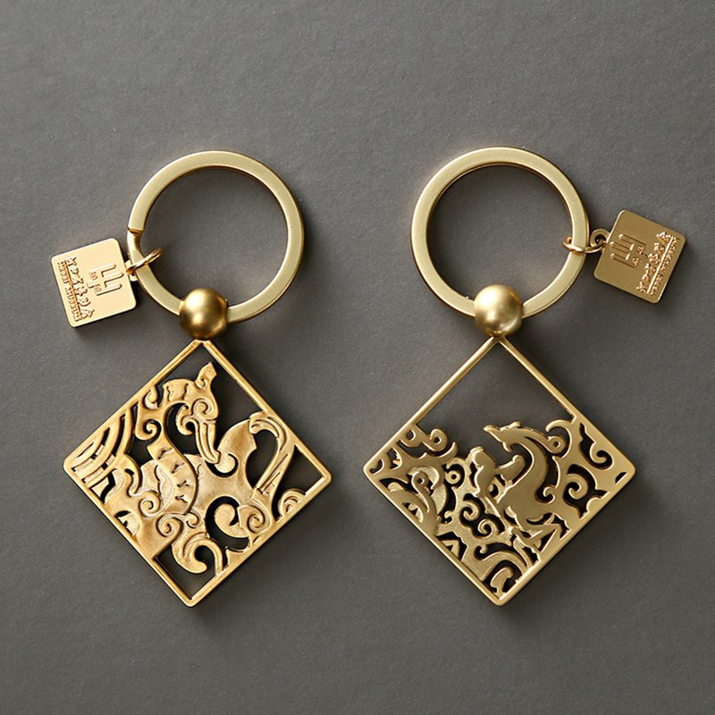 Hebei Museum | Warring States Dragon and Phoenix key ring metal hollow relics around