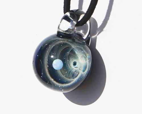 You are the only star. White opal filled ver spiral glass pendant universe