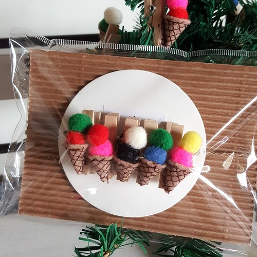 Hairpin ice cream small wooden string / group