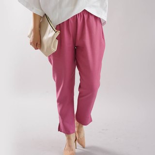 wafu   tapered linen pants / long length / elastic waist / pink / bo1-44