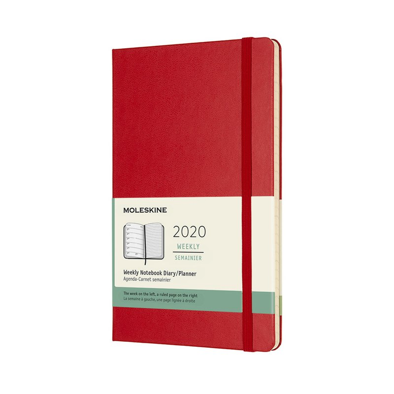 MOLESKINE 2020 Weekly 12M Hard Shell - XL Red - Bronzing Service