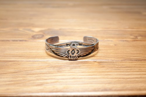 INDIAN NAVAJO manual stamping 925 silver bracelet, hippie, thunder, heavy machinery, American, Indian, Thunderbird