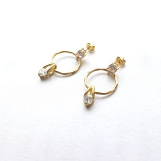 Lovers-Zircon brass handmade earrings