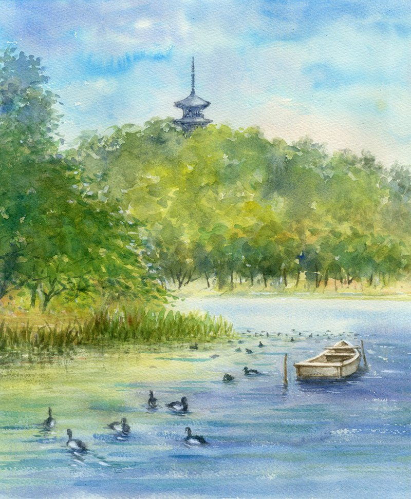Watercolor painting Yokohama Sankei garden tower