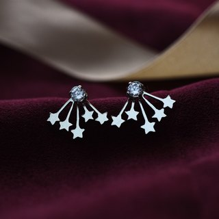 Sparkling Stars (Sterling Silver Earrings Zircon Silver) Christmas Gifts :: C% Handmade Jewelry ::