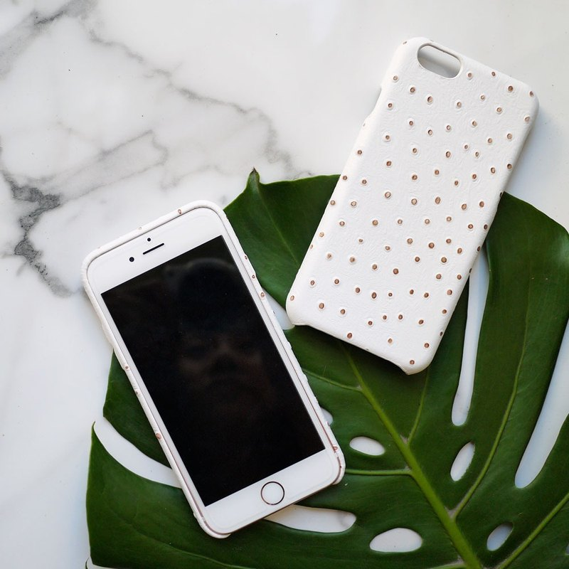 AOORTI :: Apple iPhone 6s/6s Plus Handcrafted Leather Coat Case/Mobile Phone Case - White Ostrich