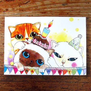 HAPPY meow blessing _ postcards